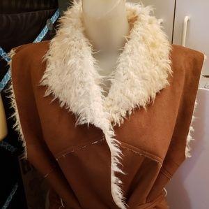 Cato faux suede and faux fur lined vest large EUC